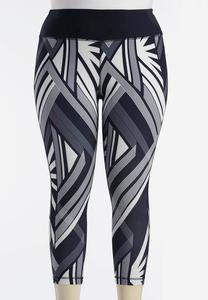 Abstract Performance Crop Leggings-Plus