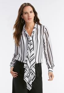 Vertical Striped Tie Neck Top-Plus
