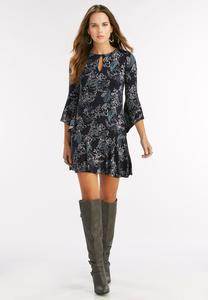 Paisley Flounced Drop Waist Dress-Plus