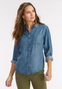 Single Pocket Chambray Top