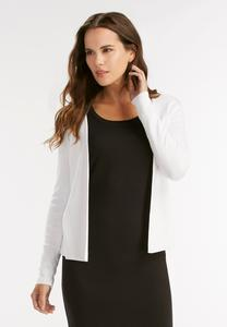 Ribbed Open Cardigan-Plus