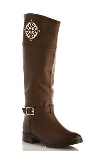 Wide Width Medallion Riding Boots