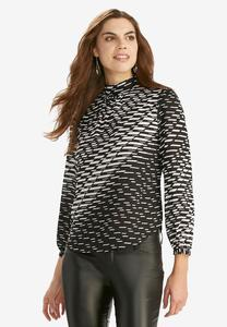 Graphic Mock Neck Top-Plus
