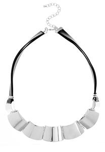 Metal Plate Faux Leather Necklace