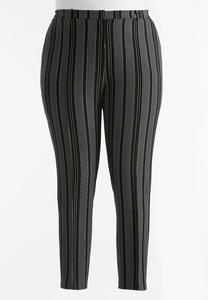 Vertical Striped Pencil Pants-Plus