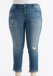 Distressed Girlfriend Ankle Jeans-Plus