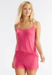 T-Back Lace Inset Sleep Tank