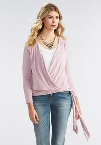 Faux Wrap pleated Knit Top-Plus