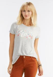 Hello Floral Graphic Tee-Plus