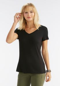 Solid V-Neck Tee-Plus
