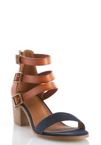 Triple Buckle Denim Heeled Sandals