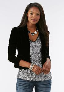 The Socialite Velvet Blazer- Plus