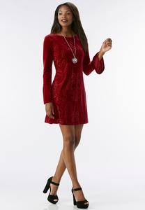 Velvet Burnout Shift Dress-Plus