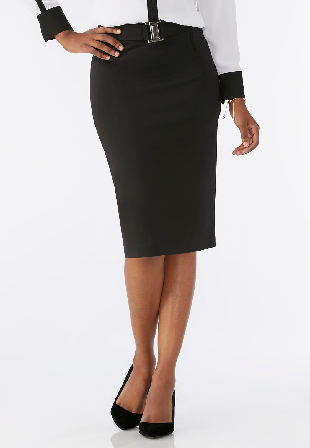 buckle front ponte pencil skirt plus below the knee cato
