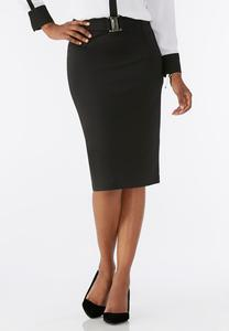 Buckle Front Ponte Pencil Skirt-Plus