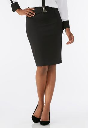 Buckle Front Ponte Pencil Skirt