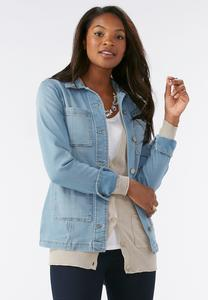 Belted Denim Anorak Jacket-Plus