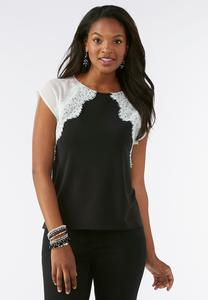 Lace Trim Colorblock Top-Plus