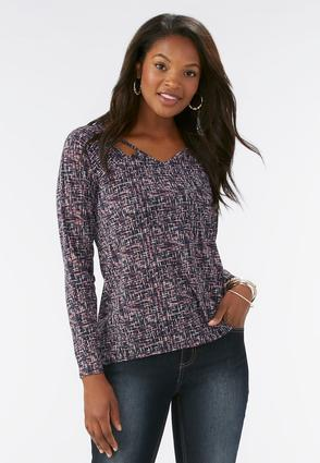 Abstract Grid Cutout Neck Top