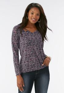 Abstract Grid Cutout Neck Top-Plus