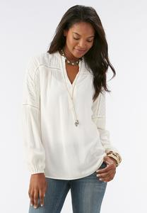 Embroidered Sleeve Peasant Top
