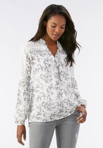 Embroidered Sleeve Printed Top-Plus