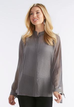 Metallic Tie Sleeve Shirt- Plus