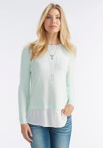 Chiffon Trim Fine Gauge Sweater