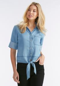 Tie Front Chambray Shirt-Plus