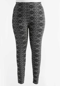 Lace Print Leggings-Plus