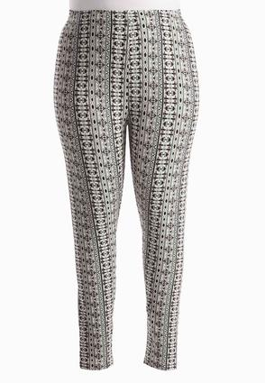 Scroll Striped Leggings- Plus