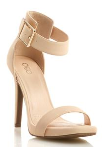 Wide Width Two Strap Heeled Sandals