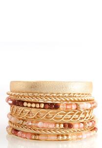 Textured Metal Beaded Bangle Set