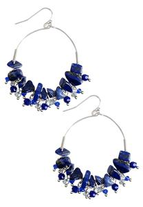Chipped Semi-Precious Stone Hoop Earrings