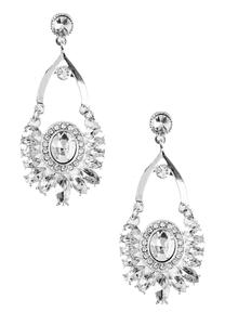 Marquise Stone Bordered Chandelier Earrings