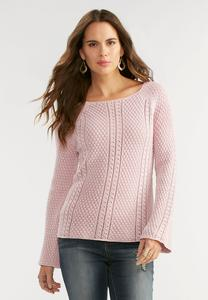 Pointelle Bell Sleeve Sweater
