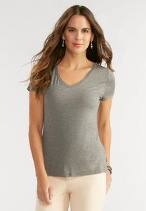 V-Neck Heathered Tee-Plus