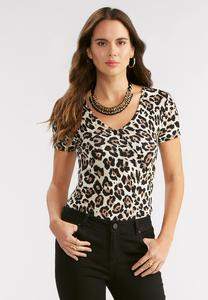Leopard Faux Surplice Bodysuit-Plus