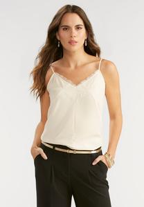 Eyelash Lace Trim Tank-Plus