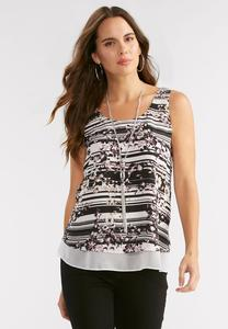 Mixed Print Double Layer Tank-Plus