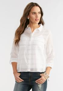 Raised Striped Button Down Shirt-Plus