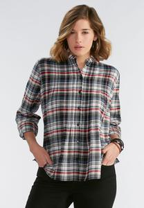 Pleated Plaid Button Down Shirt- Plus
