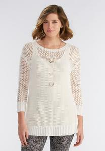 Lace Up Back Pointelle Sweater
