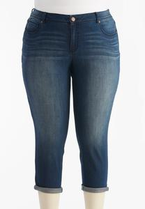 Shape Enhancing Cuffed Denim Crops-Plus