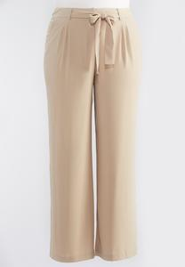 Tie Waist Wide Leg Pants-Plus