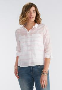 Raised Striped Button Down Shirt