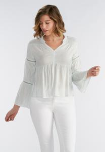 Abstract Cobblestone Henley Poet Top