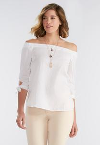 Woven Striped Off the Shoulder Poet Top-Plus