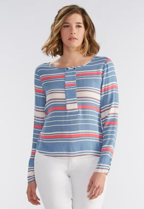 Button Panel Striped High- Low Top- Plus