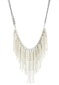 Pearl Fringe Statement Necklace